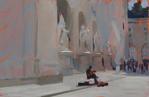 Plein air painting of a street musician in Salzburg, Austria.