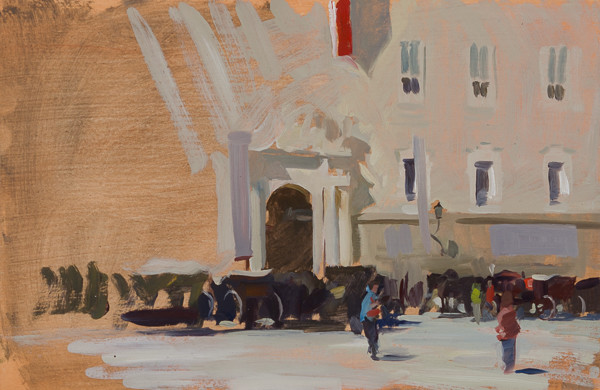 Unfinished painting of carriages in Salzburg, Austria.
