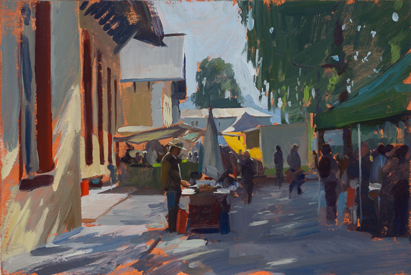 Plein air painting of a honey seller in Hallein, Austria.