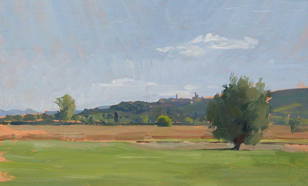 Plein air landscape painting of Sinalunga (Siena).