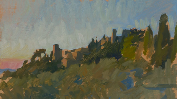 Plein air painting of a sunset in Tuscany.
