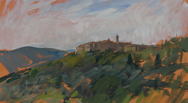 Plein air landscape painting of Castelmuzio.