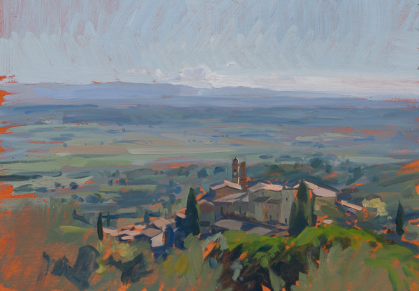 Plein air landscape painting of Scrofiano, Tuscany.