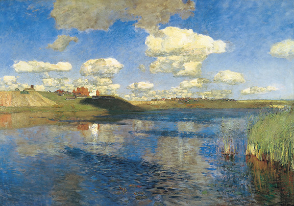 Isaac Levitan's landscape painting of an invented lake in Russia.