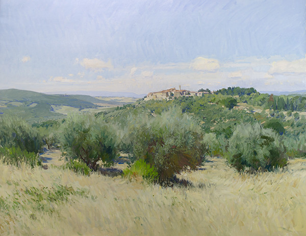 Studio landscape painting of Castelmuzio, Tuscany by Marc Dalessio