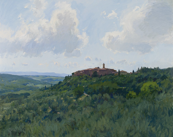 Landscape painting of Castelmuzio in Tuscany by Marc Dalessio