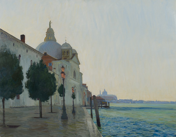 Landscape painting of Giudecca in Winter in Venice, Italy by Marc Dalessio
