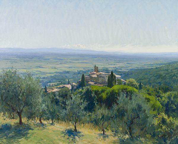 Oil painting of Scrofiano, Tuscany by Marc Dalessio