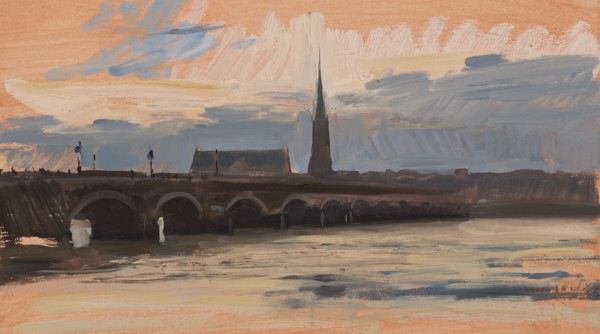 Plein air landscape painting of a sunset in Bordeaux, France.