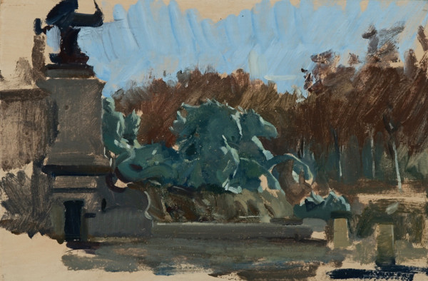 Plein air painting of the horses on the Monument aux Girondins in Bordeaux.