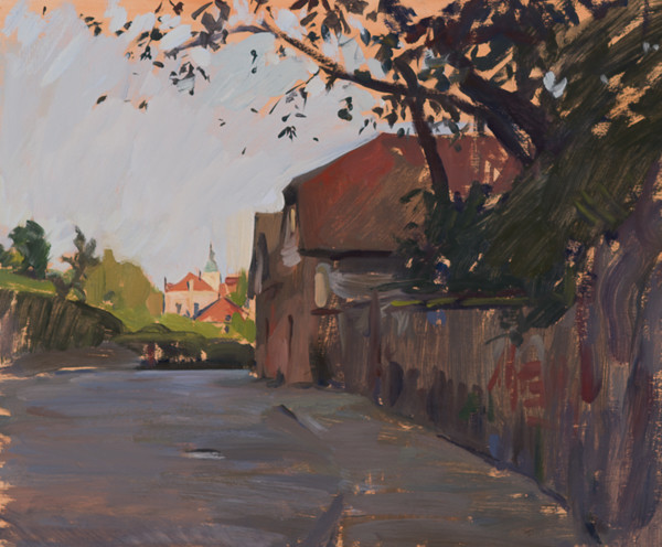 Plein air painting of the road into Samobor, Croatia.