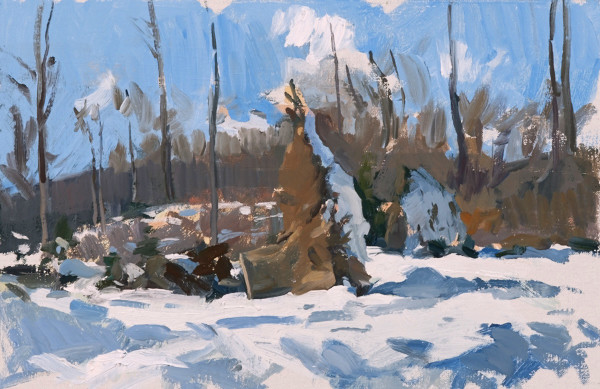 Plein air painting of fallen tree stumps on Sljeme above Zagreb, Croatia.