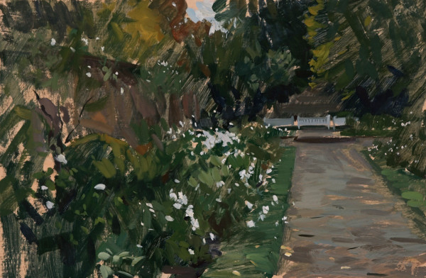 Plein air painting of the White Garden in the Rookery in Streatham.
