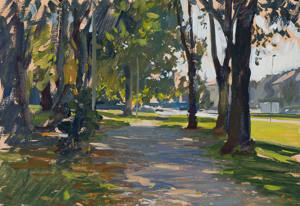 Plein air painting of the park near Zvijezda, Zagreb.