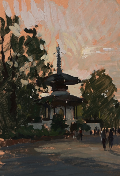 Plein air painting of the pagoda in Battersea Park, London.
