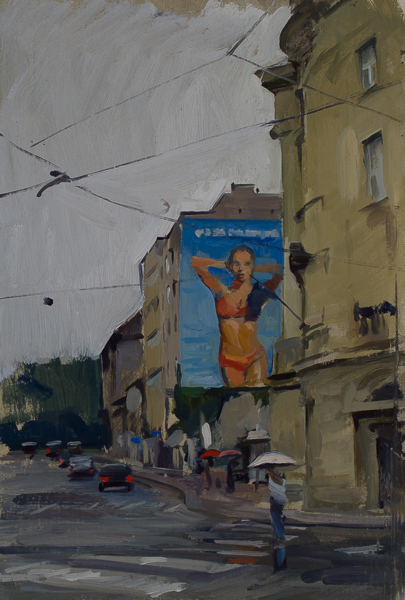Plein air painting of a Calzedonia advertisement in the rain in Zagreb.