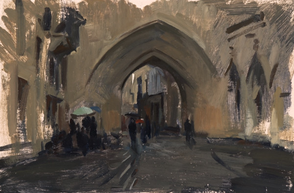 Plein air painting of the Porte Saint-Éloy in Bordeaux.