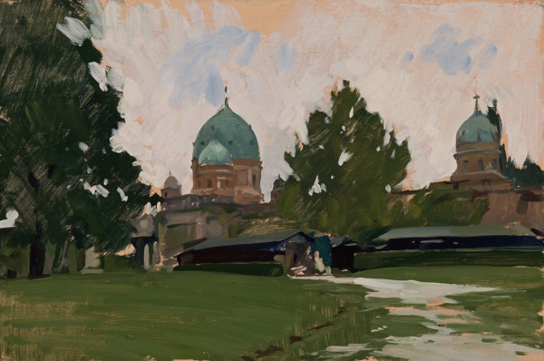 Plein air painting of Mirogoj cemetery in Zagreb.
