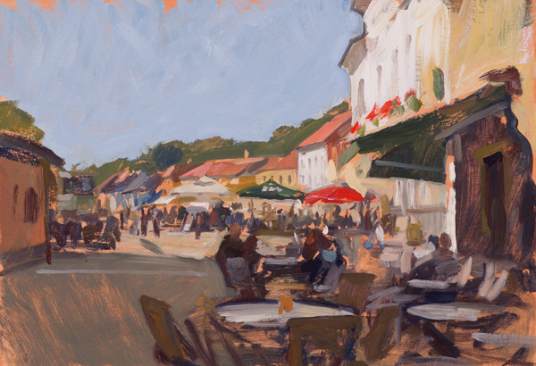 Plein air painting of Sunday coffee in Samobor, Croatia.