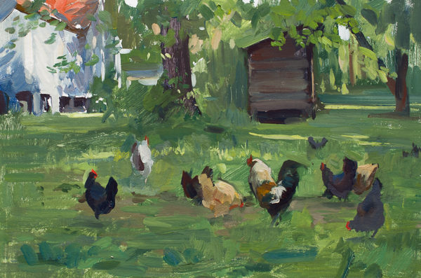 Plein air painting of chickens in Carthage, NC.