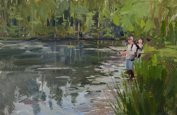 Plein air painting of a father fishing with his son on a pond.