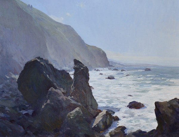 Plein air landscape of the Big Sur Coast.