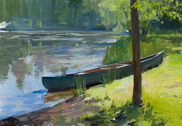 Plein air painting of a backlit canoe in Carthage, NC.