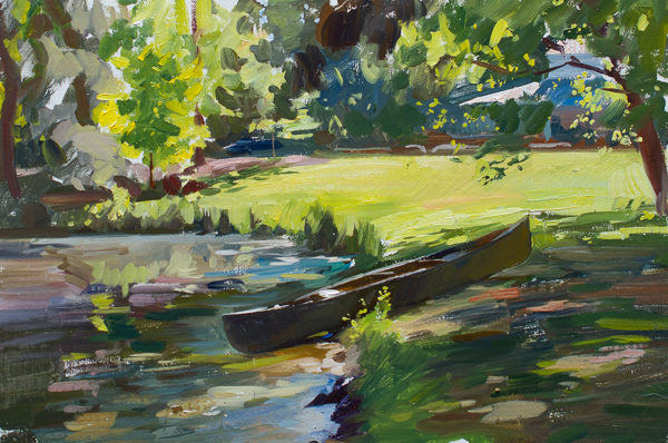 Plein air painting of a canoe by a pond in Carthage, NC