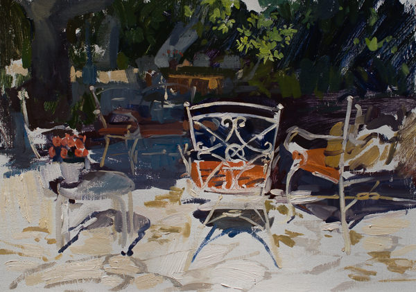 Plein air painting of a patio in Carmel Valley, CA