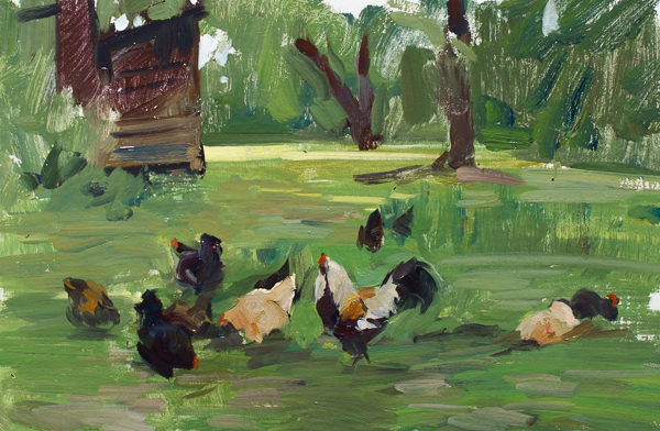 Plein air painting of chickens.