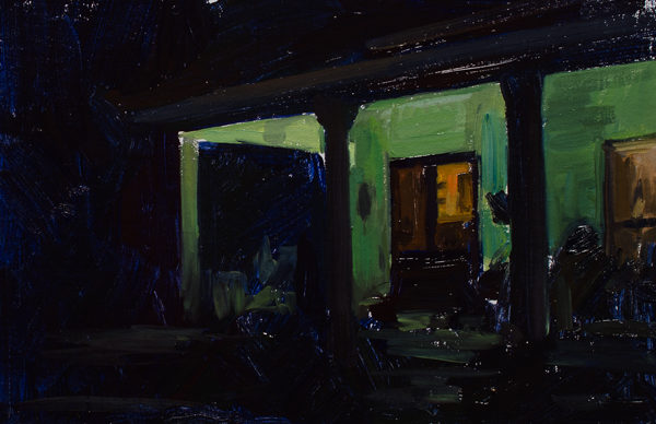 Plein air painting of a porch at night.