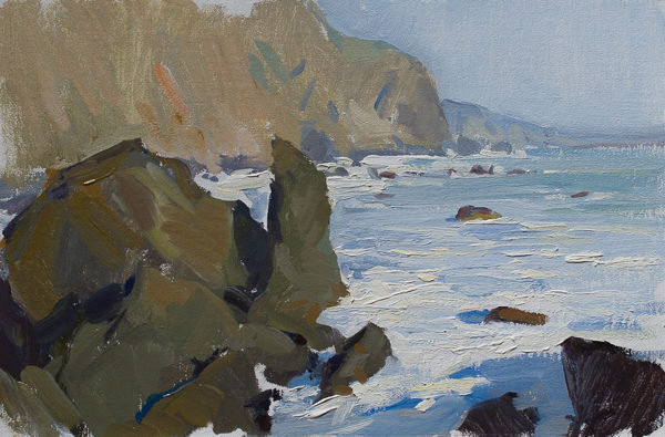 Plein air painting of the Big Sur coast in the evening light.