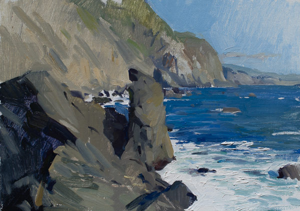 Plein air landscape painting of the Big Sur Coast.