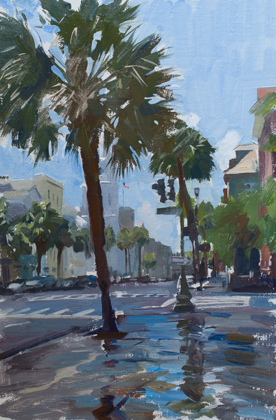 Plein air landscape painting of Broad Street in Charleston SC.