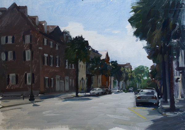 Plein air painting of Broad Street, Charleston SC.
