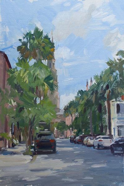 Plein air painting of the palm trees on Church Street in Charleston, SC.