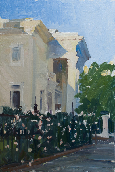 Plein air painting of the evening light in Charleston, SC.