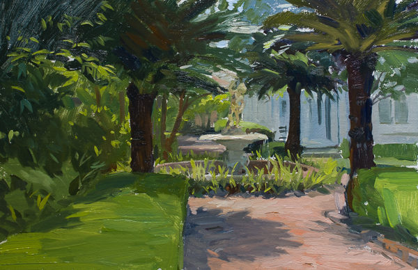 Plein air painting of a garden in Charleston, SC