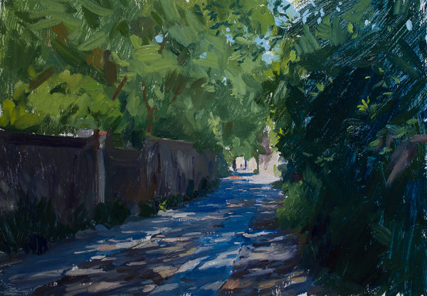 Plein air painting of Longitude Lane in Charleston, SC.