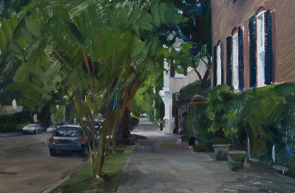Plein air landscape painting of a sidewalk in Charleston SC.