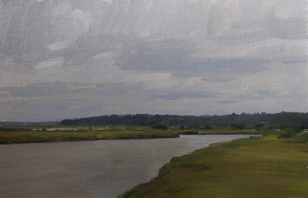 Plein air painting of an overcast day on Minim Creek, North Santee Delta.