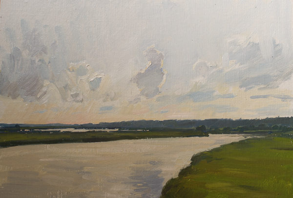 Plein air painting of sunset on Minim Creek.