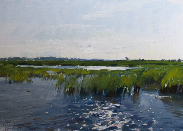 Plein air painting of morning light on the North Santee Delta.