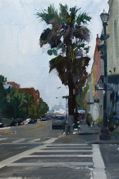 Plein air painting of Queen Street in Charleston, SC.
