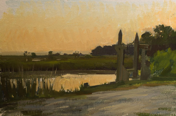 Plein air landscape painting of twilight in the North Santee River delta.