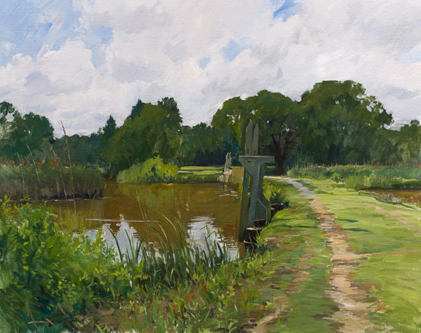 Plein air painting of rice trunks in the North Santee River delta.