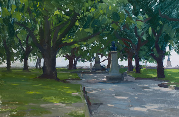 Plein air landscape painting of White Point Gardens in Charleston, SC.