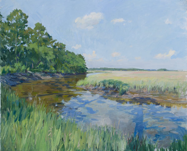 Plein air painting of afternoon shadows on a lowcountry creek in South Carolina.
