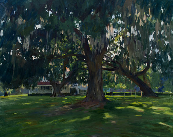 Plein air landscape painting of large oak trees on a farm in South Carolina's Lowcountry.
