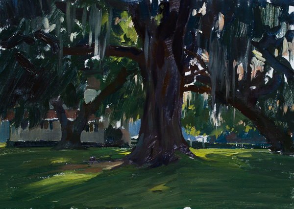 Plein air painting of large oak trees.